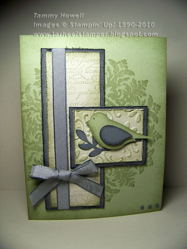 "Supplies used on the Medallion Bird Card:  Medallion and En Francais Stamp Sets  Mellow Moss, Basic Grey, and Sahara Sand card stock  Sponges, Basic Grey satin ribbon, 1/8"" circle punch, cutter kit, Stampin' Dimensionals, Finial Press Embossing Folder"