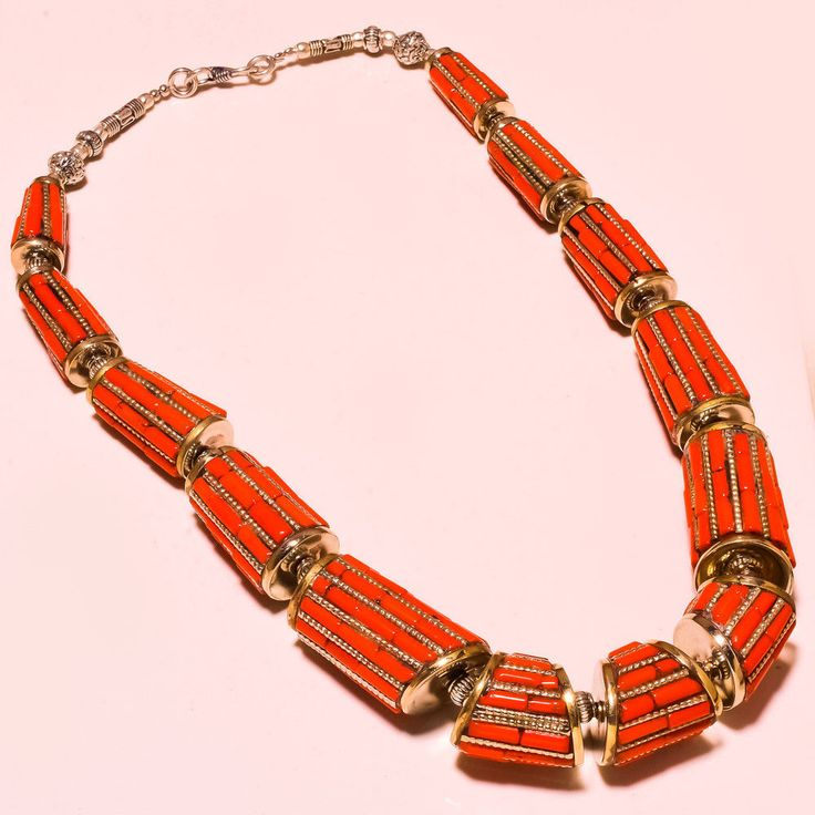 "Greatest One Red Coral For Women's Special Ebay Tibetan Jewelry Necklace 18""  #Handmade #Choker"