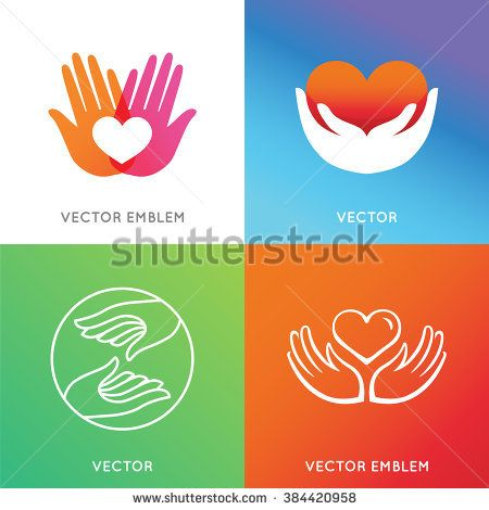 Vector charity and volunteer concepts and logo design elements in trendy style and bright gradient colors - emblems and signs for nonprofit and philanthropic organizations and centers