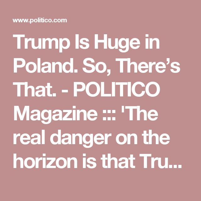 Trump Is Huge in Poland. So, There's That. - POLITICO Magazine ::: 'The real danger on the horizon is that Trump's diplomacy of brag and bash is starting to take a toll on U.S. long-term security, as these repeated assaults on allies during these past six months are weakening bonds of friendship and trust that took decades to build in countries like Germany and South Korea. ' :: ( By the way, he was a big hit with the rent-a-crowd the Polish government bussed in!)