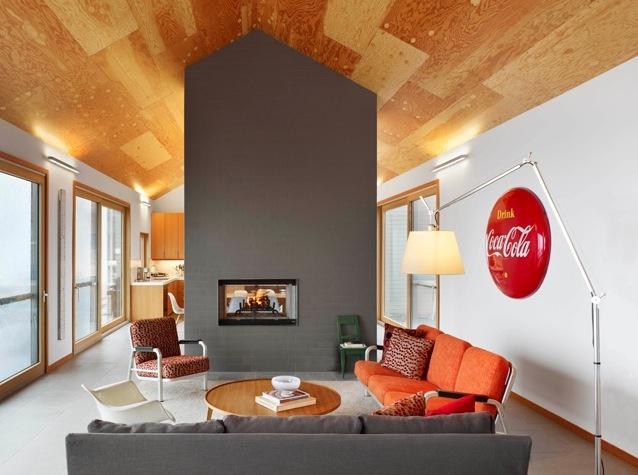 Warm wood ceiling.