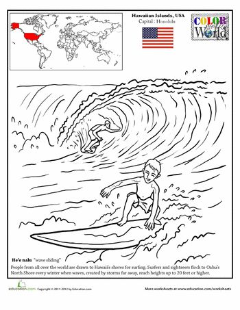 Hawaii Surfing Coloring Page Hawaii and Worksheets
