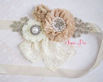 Rustic Flower Girl Sash...Burlap Sash..Bridal by SuriPieCreations