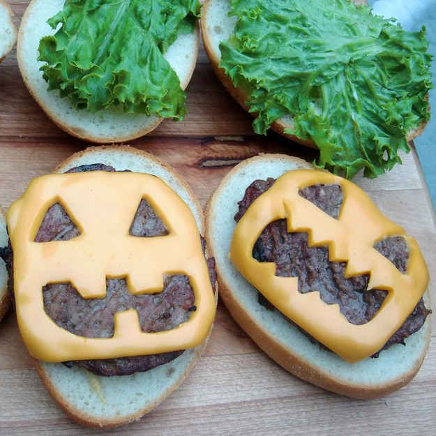 Add some jack-o'-lantern pizzazz to a basic burger.   27 Incredibly Easy Ways To Upgrade Any Halloween Party