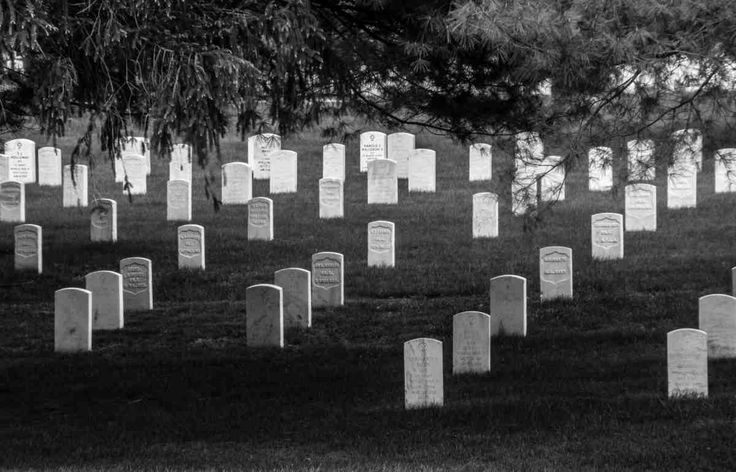 "Under the Shade of the Trees - Marion National Cemetery  IN - B&W  ""Marion National Cemetery is a United States National Cemetery located in the city of Marion in Grant County, Indiana. It encompasses 45.1 acres (18.3 ha), and as of the end of 2005, had 8,269 interments. It is included in the National Home for Disabled Volunteer Soldiers, Marion Branch national historic district."" source Wikipedia ©2016 Art BySilent Studio"