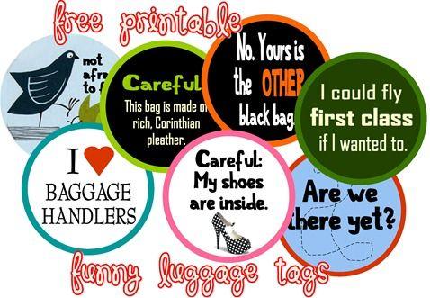 Free Printable - funny luggage tags