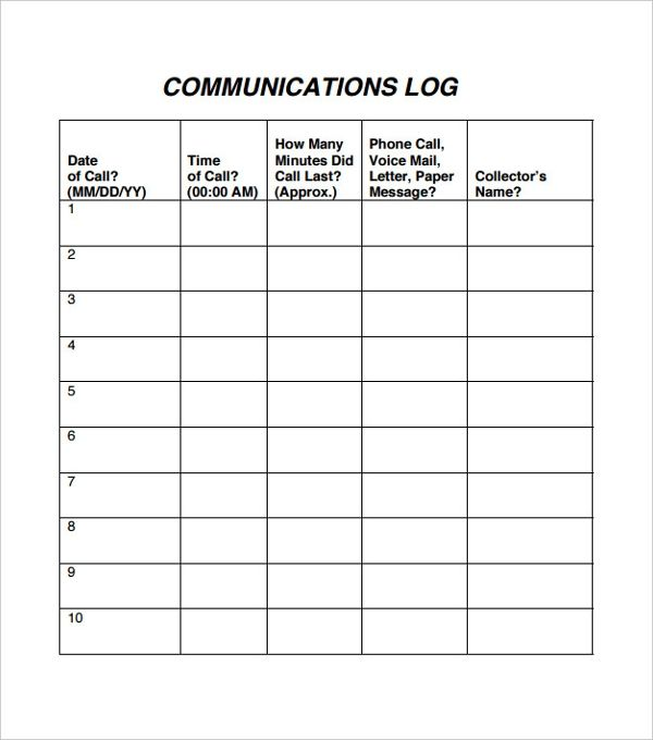 10 Communication Log Templates Communication Log Templates