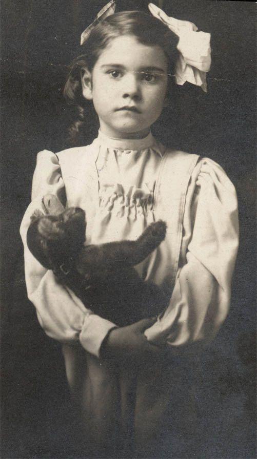 vintage photo Little Girl Holding Steiff Teddy Bear by maclancy