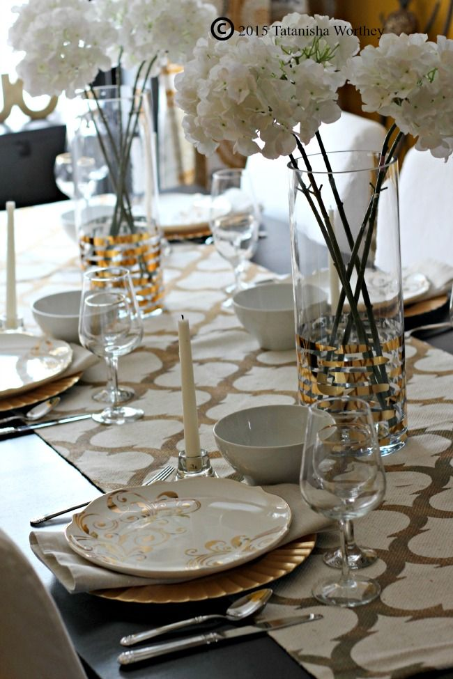 Gold And White Tablescape Kitchen Decor Pinterest