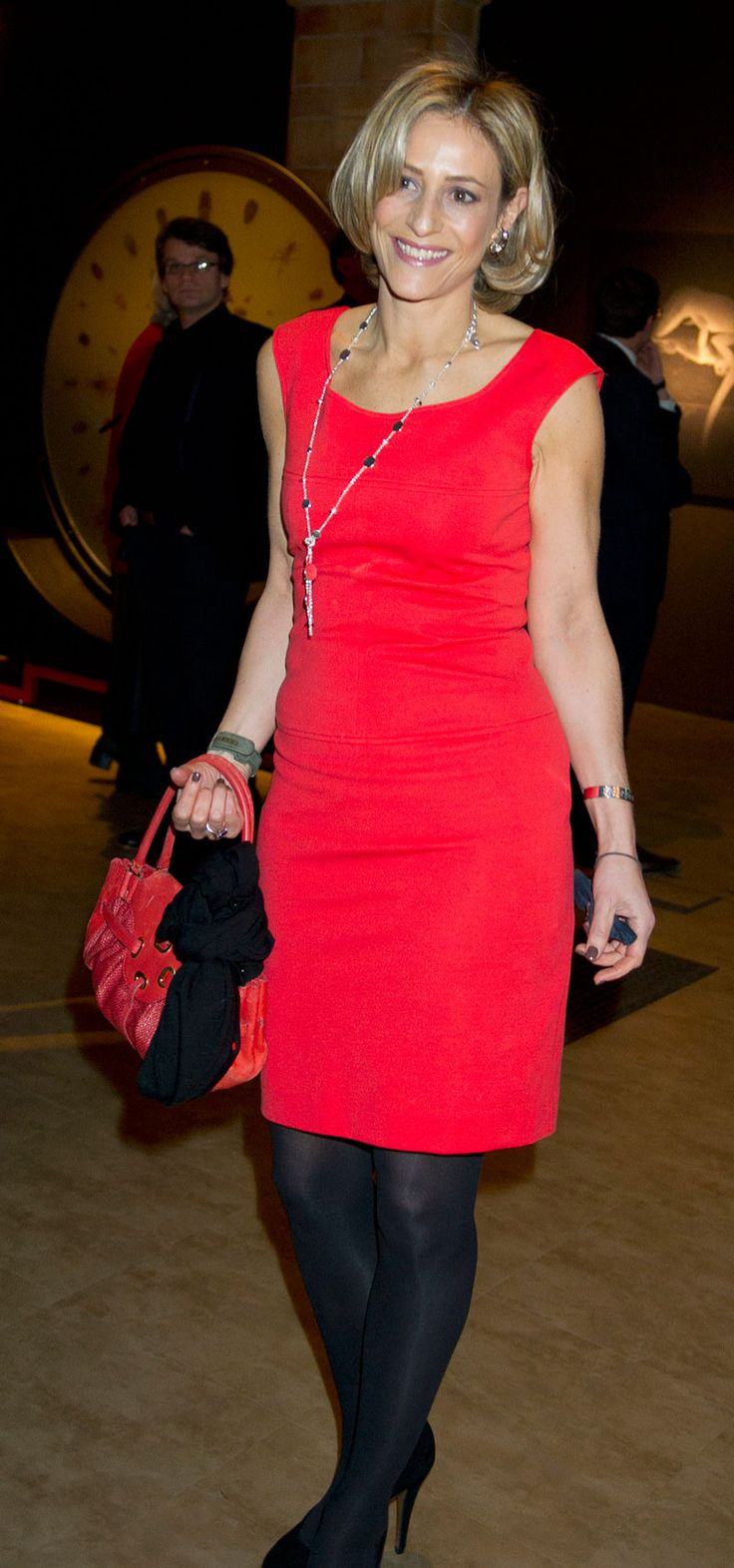 Newsreader Emily Maitlis, the lady in red