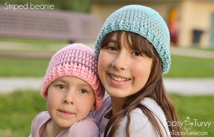 Crochet Striped Beanie Pattern- multiple sizes