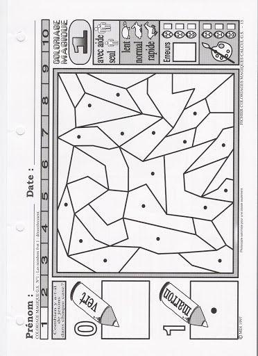 Coloriage magique : zone vide / zone avec un point