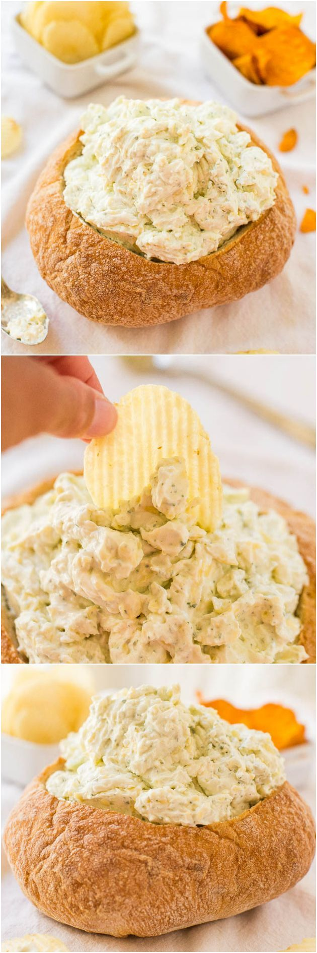 Creamy Ranch and Cheese Bread Bowl Dip - A no-bake, easy dip that's packed with bold flavor! A perfect party dip & you get to eat the bowl!