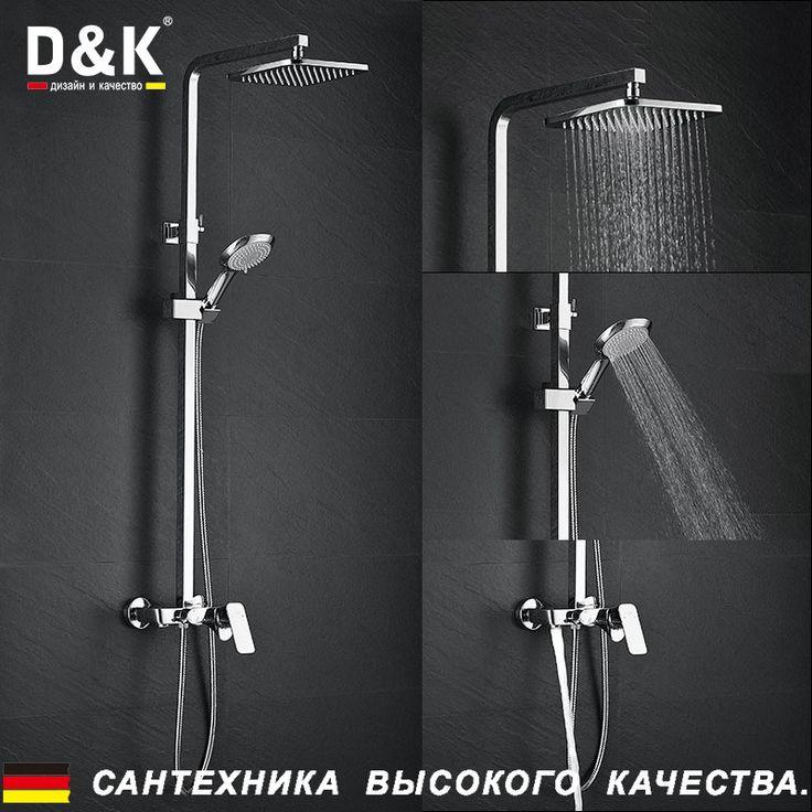 Купить D&K DA1433701A01 Высокое Качество Дождь душ набор , Однорычажная душевая система с верхним душем, Керамический картридж 38.5мм, душевой шланг, хромированная поверхность, смеситель для ванной с душем и краноми другие товары категории Смесители для ванной и душав магазине D&K Official StoreнаAliExpress. mixer tip и набор блузка
