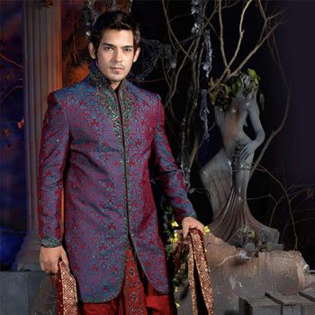 Purple Jacquard Embroidered Sherwani with Dhoti