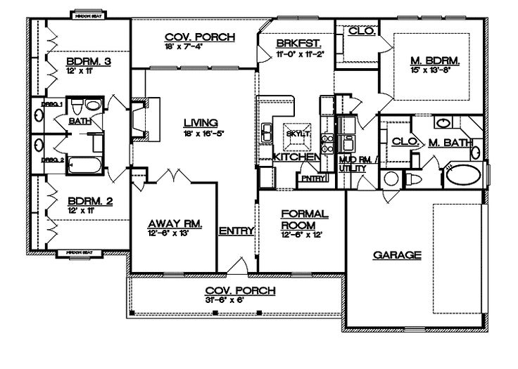 Floor plans aflfpw23177 1 story ranch home with 3 for Two story ranch house plans