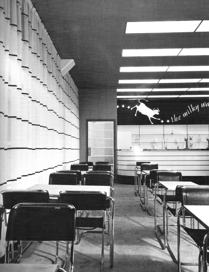 The first Milky Way Cafe at 300 Little Collins St, Melbourne. Designed by Geoffrey Mewton and Roy Grounds for United Milk Productions in 1935. The chairs were Australian copies of the 1927 Marcel Breuer classic.