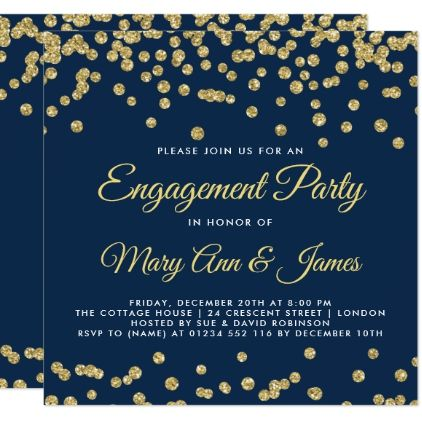 #Gold Faux Glitter Confetti Engagement Party Navy Card - #engagement #party engagement partywedding showerwedding