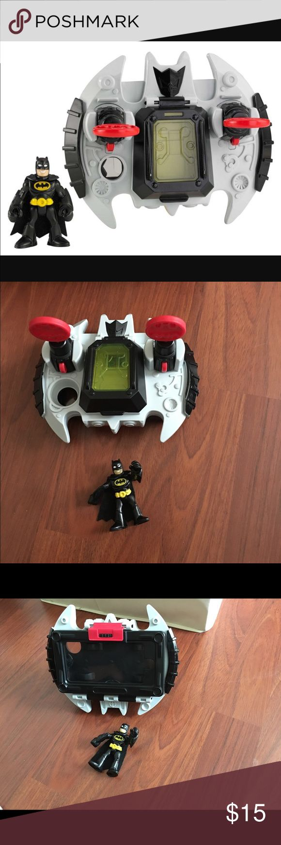 Batwing iPhone case Compatible with iPhone 3G/3GS, iPhone 4/4S, iPhone 5 and iPod touch 2nd, 3rd, 4th & 5th generation (device In flight mode, open & close the cockpit to put Batman figure inside and push buttons to fire projectile launchers Works with any app including the FREE Fisher-Price Imaginext Batcave app Other