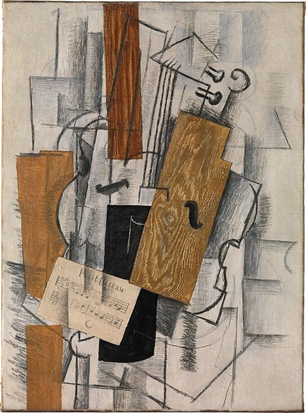 """Georges Braque, Violin and Sheet Music: """"Petit Oiseau"""" (1913).  Photo: © 2014 Artists Rights Society (ARS), New York. - """"Cubism"""" at the Met: Modern Art That Looks Tragically Antique - artnet News"""