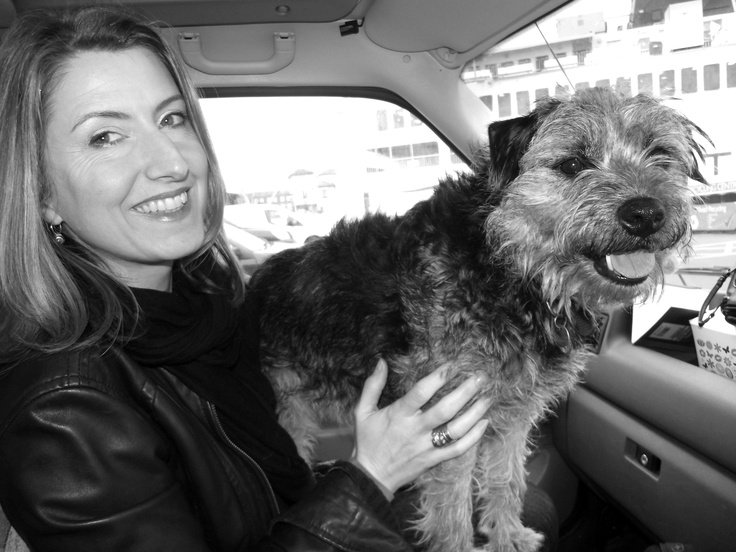Author Isabel Ashdown and Charlie the border terrier, boarding the Wightlink St Clare ferry at Portsmouth, heading off for a research trip to the Isle of Wight.
