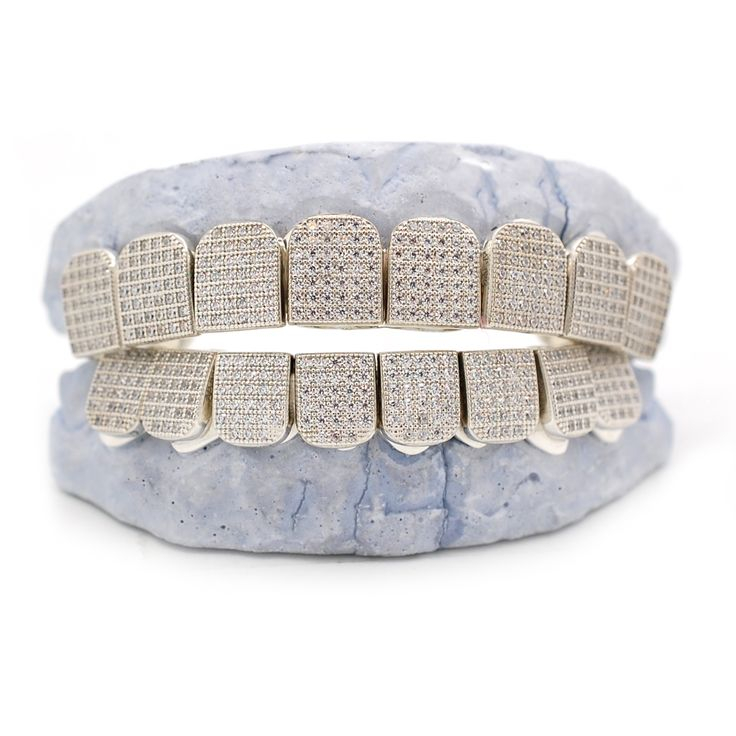 White Gold Grillz Iced Out MicroPave Lab Diamond Grillz