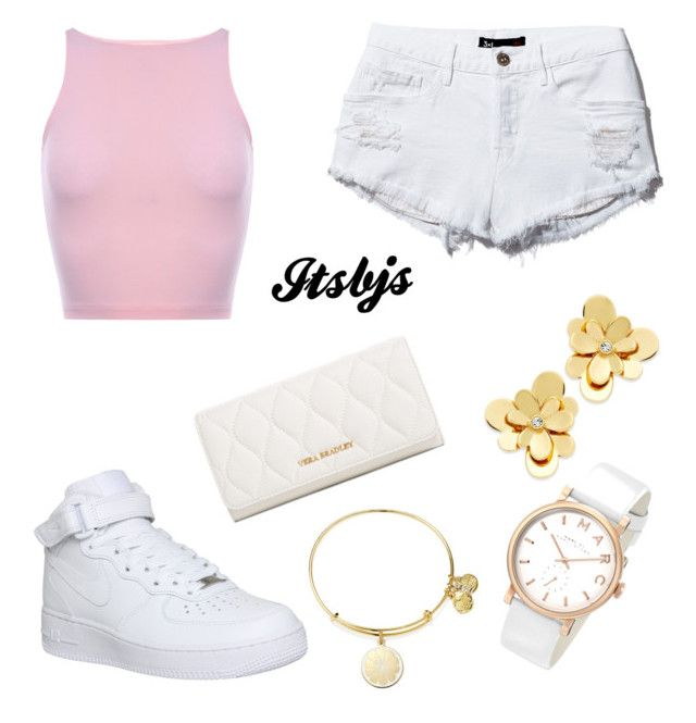 Pink/white/gold/Nike/airpos by itsbjs on Polyvore featuring polyvore, fashion, style, NIKE, Vera Bradley, Kate Spade, Marc by Marc Jacobs and Alex and Ani
