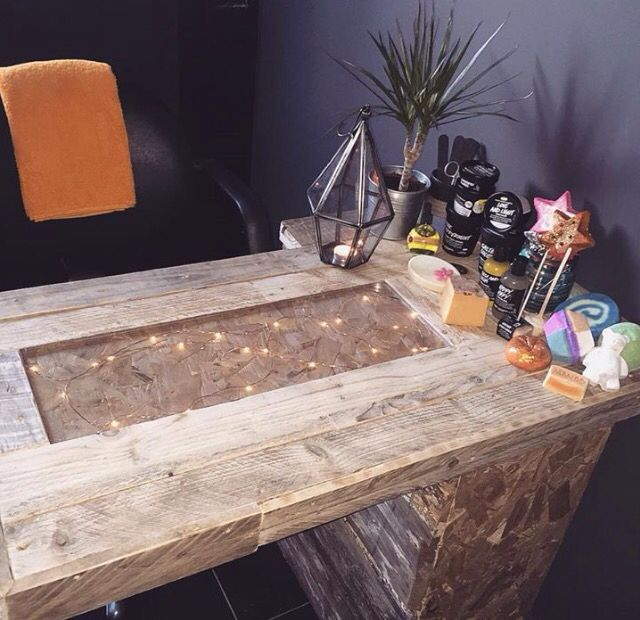 Managed to make this manicure table for free in the end, minus the £6 lights. U...