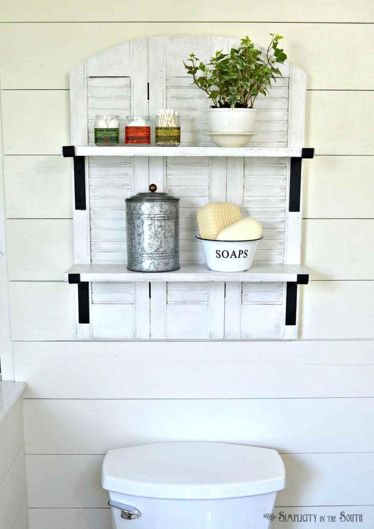Inspired by Ballard Designs Catalog Shutter Shelf that sells for $259.00, this catalog copycat version using salvaged shutters cost $7.00!
