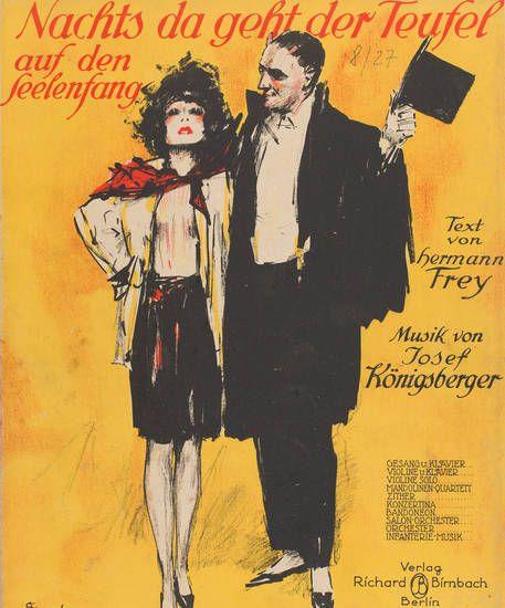 Nachts geht der Teufel auf Seelenfang, Musikalien, Königsberger, Josef, Frey, Hermann, 1924