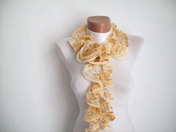Cream Crochet  Scarf Fall Fashion Frilly scarf by scarfnurlu