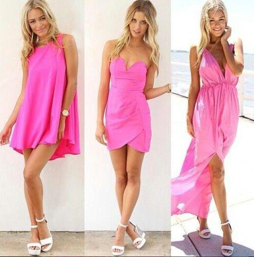 roze jurken.