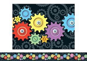 Colorful Robot Gears Bulletin Board Border, Straight