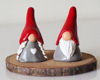 Christmas gnome couple Scandinavian gnomes por paintmydream
