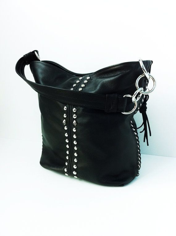 Black Leather Purse with Studs and Chain Detail by karenkalashnik