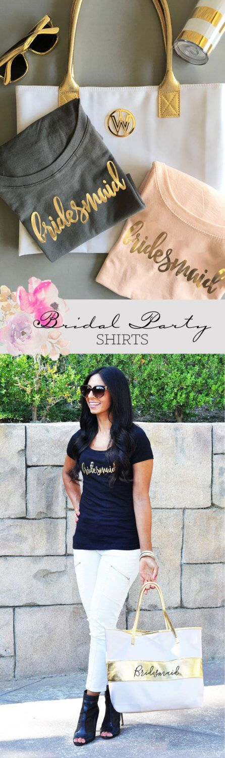 Bridal Party Shirts - Bachelorette Party Shirts - Bridesmaid Shirts - Bridesmaid T Shirts - Bridal Shirts - Bridesmaid Gifts (EB3160BPW) by ModParty on Etsy https://www.etsy.com/listing/460989040/bridal-party-shirts-bachelorette-party