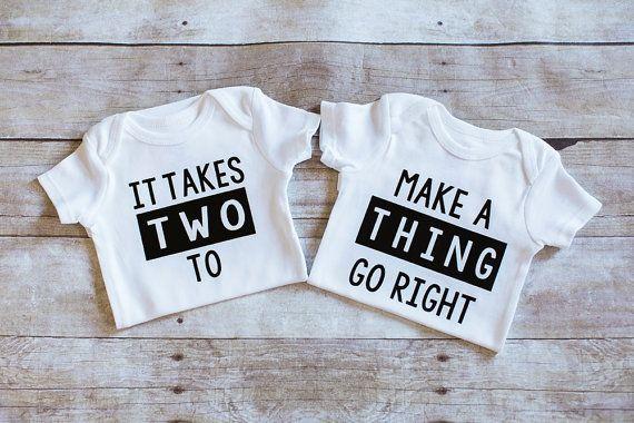 Twins Bodysuit baby shirt one piece It takes two by AdsAndMarnieCo