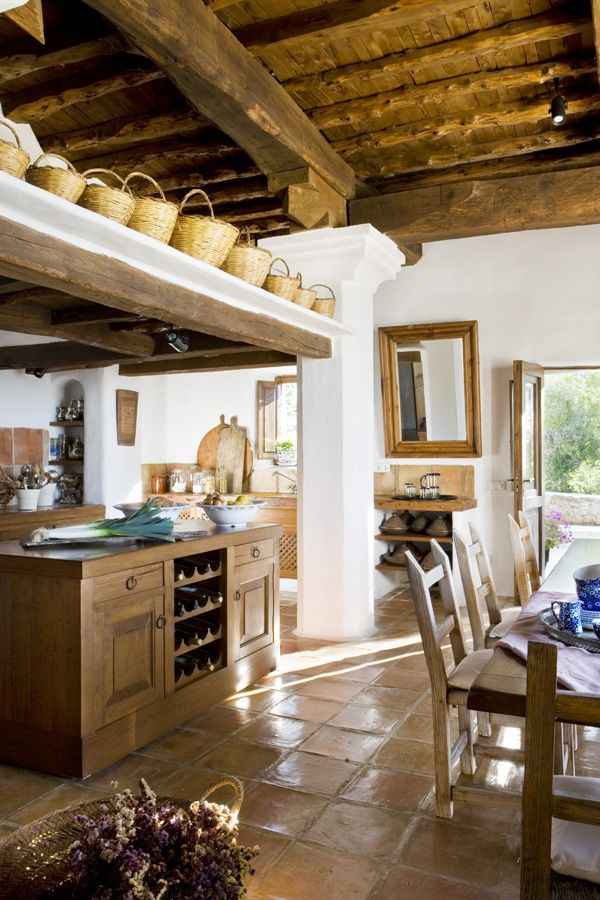 rustic farmhouse kitchen- I love the space for the baskets!