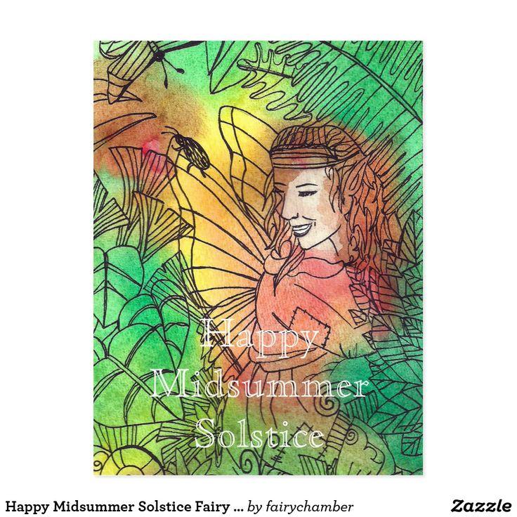 Happy Midsummer Solstice Fairy Postcard