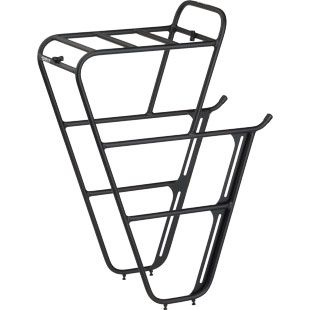 """The impressive Surly Front Rack.  Made of 10mm steel tubing.  Can take the rear-size Sport Packer Plus panniers.  Top deck is 6.5""""W x 9""""L.  Can also be split into 3x pieces using 4x tube splitters."""