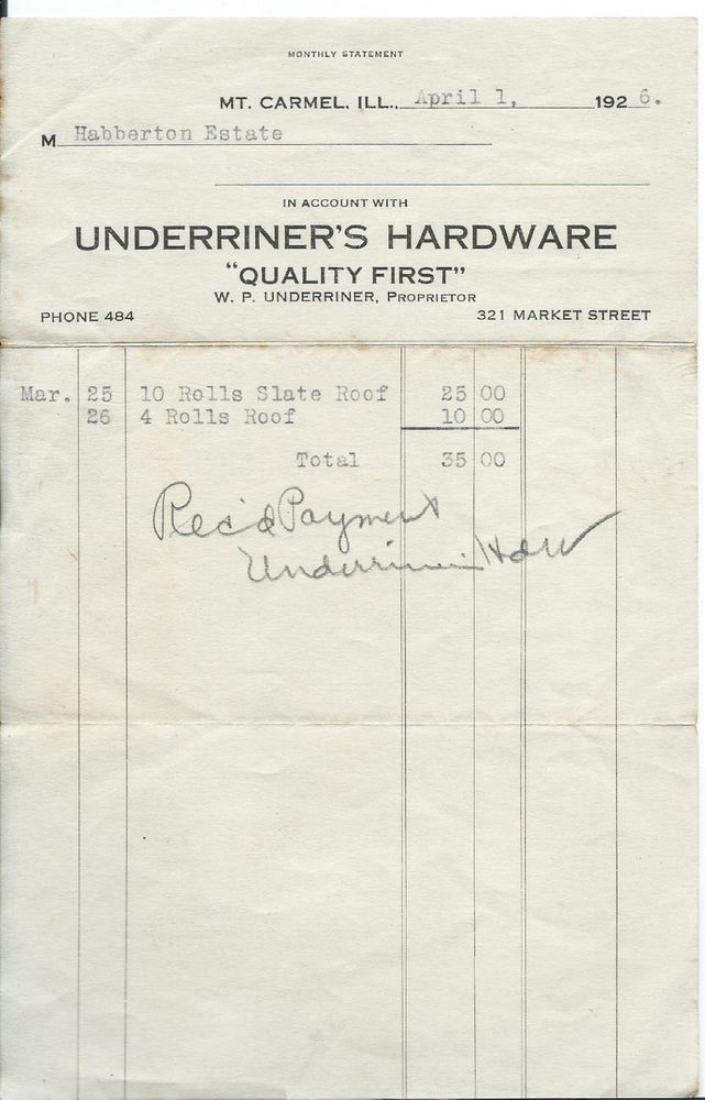 1926 Receipt Underriner S Hardware Mt Carmel Il Illinois