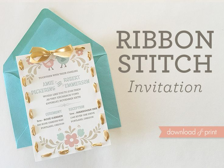DIY folksy ribbon stitch wedding invitation | Download & Print