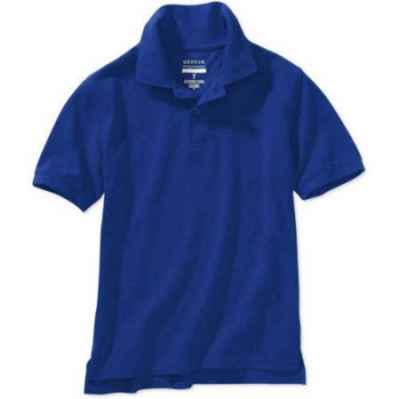 George Boys School Uniforms Short Sleeve Polo Shirt with Stain Resistant Scotchgard Treatment, Blue