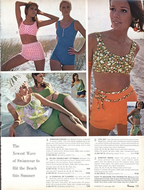 1960s swimwear from Penneys.: Wearing 1960S, Pro 1960S, Vintage, 1960S Bathingsuits, 1960 S Swimwear, Summer, 1960S Swimwear, 60S Swimsuits