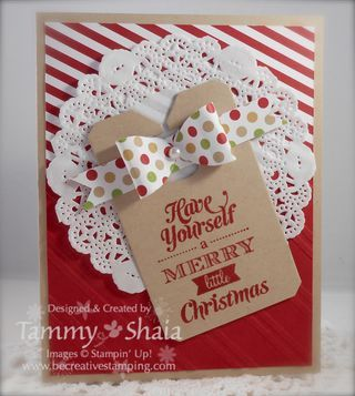 08/27/2013  Christmas Stamp Camp is Coming! | Merry Little Christmas, Chalk Talk Framelits tag, paper doily, Bigz gift bow