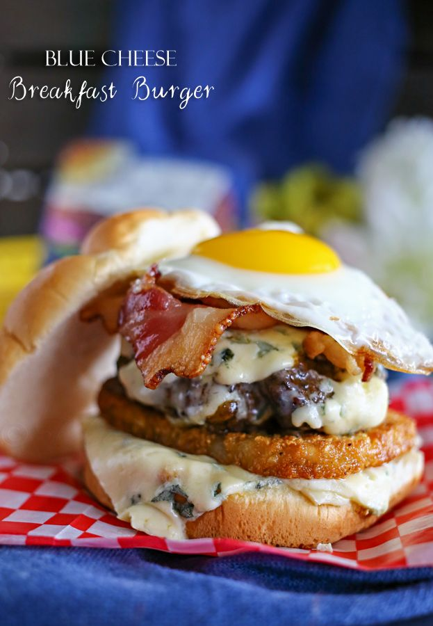 Blue Cheese Breakfast Burger - It's everything you love about breakfast, packed on your burger & complimented by the great taste of blue cheese. Heaven on a bun on kleinworthco.com #BluesdayTuesday #ad @castellousa