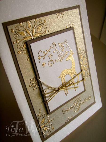 SU Dasher, Snow Swirled, Gold embossed, Gold Metallic Card stock, Confetti Cream, Soft Suede