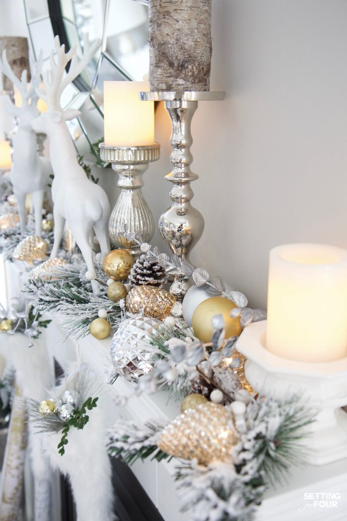 Glam Gold And White Christmas Home Tour 30 Holiday Homes Christmas Mantel Decorations Holiday Decor Christmas Gold Christmas Decorations
