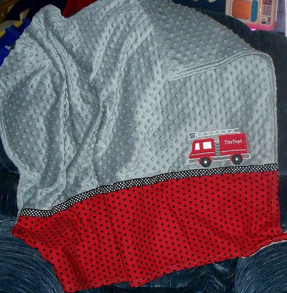 Baby Boy Fireman Blanket  Fire Truck / Personalized