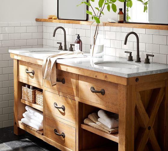 Benchwright Reclaimed Wood Double Sink Vanity Wax Pine Finish Potterybarn Bathroom Makeover Farmhouse Master Bathroom Double Sink Vanity